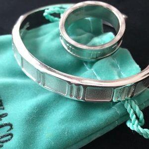 Sterling silver Roman numerals bracelet & ring set